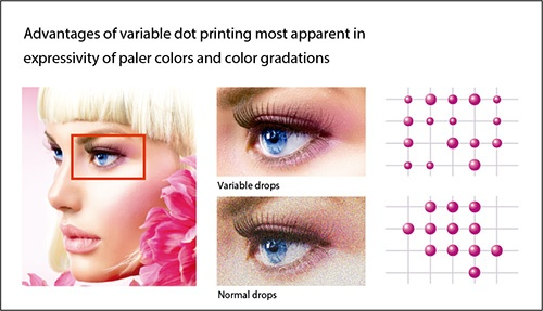 Sfumature graduali e dai colori perfetti sono create grazie al sistema Mimaki di controllo micrometrico del movimento della testa di stampa